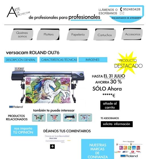 Arte de Proyectar landing page, plotters, cartuchos, empresa online, ofertas destacadas, producto del mes, compre ahora